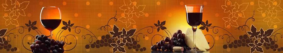Скинали — Вино и виноград и желто-коричневый фон