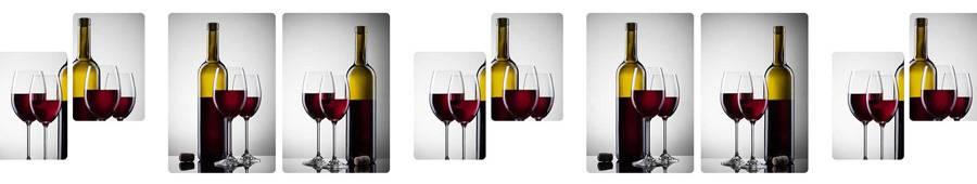 Скинали — Винный коллаж из бутылок и бокалов с красным вином
