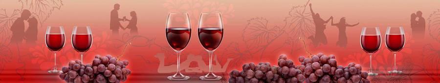 Скинали — Вино и винные бокалы и красный фон с влюбленными парами